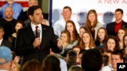FILE - Republican president candidate Sen. Marco Rubio, speaks to supporters at the Guntersville Civic Center in Guntersville, Alabama, Dec. 1, 2015.
