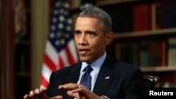 Tổng thống Hoa Kỳ Barack Obama trong cuộc phỏng vấn với hãng tin Reuters tại Washington, ngày 2/3/2015. Nhà lãnh đạo Mỹ cho rằng Iran phải đồng ý đóng băng chương trình hạt nhân trong vòng ít nhất là 10 năm thì một hiệp định thành công mới có thể đạt được.