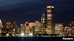 FILE - The John Hancock tower is most prominent in this section of the Chicago skyline, in a photo taken in May 2001.