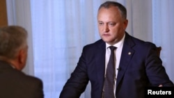 Moldovan President Igor Dodon speaks during an interview with Reuters in Chisinau, Moldova, July 28, 2017.