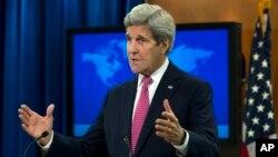 Le Secrétaire d 'Etat américain John Kerry présentant le rapport 2015 des Etats-Unis sur les droits humains dans le monde, à Washington, le 13 avril 2016. ( AP Photo/Jose Luis Magana)