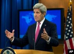 존 케리 미국 국무장관이 지난 4월 '2015 국가별 인권보고서' 발표 기자회견에서 발언하고 있다. (자료사진)