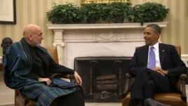 Predsednici Avganistana, Hamid Karzai, i Sjedinjenih Država, Barak Obama, tokom razgovora u Beloj kući, 11. januar 2013.