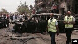 Vụ nổ hôm thứ Hai xảy ra ở khu Heliopolis sang trọng ở phía đông Cairo trong khi ông Barakat đang rời nhà đi làm, 29/6/2015.