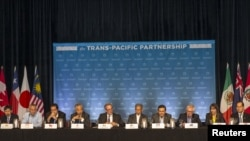 지난해 7월 하와이 마우이에서 환태평양경제동반자협정 TPP 참여국 장관들이 진행상황을 논의하기 위해 기자회견을 열었다.