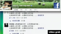 1月20日晚间,大批中国网民翻墙登上脸书,推特等社交媒体,对包括台湾总统当选人蔡英文,民进党以及许多中国海内外民主和维权人士发动留言攻势(视频截图)