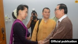 ႏိုင္ငံေတာ္၏အတိုင္ပင္ခံပုဂၢိဳလ္ ေဒၚေအာင္ဆန္းစုၾကည္ ရွမ္းျပည္ျပန္လည္ထူေထာင္ေရးေကာင္စီ/ ရွမ္းျပည္တပ္မေတာ္(RCSS/SSA) ဥကၠ႒ ဦးယြက္စစ္ (Myanmar State Counsellor Office)