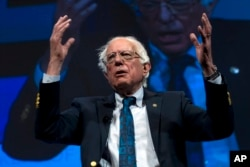 Independent presidential candidate Sen. Bernie Sanders, I-Vt., speaks during the We the People Membership Summit, featuring the 2020 Democratic presidential candidates, at the Warner Theater, in Washington, April 1, 2019.
