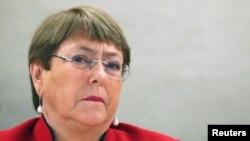 Lãnh đạo Văn phòng Cao ủy Nhân quyền Liên hiệp quốc Michelle Bachelet tại phiên họp của Hội đồng Nhân quyền ở Genève ngày 24/2/2020.