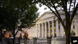 미국 워싱턴 DC의 재무부 건물. (자료사진)