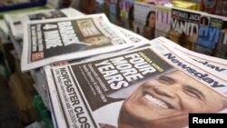 ٹائم اسکوائر، نیو یارک: اخبارات کی شہ سرخیوں کی زینت، صدارتی انتخاب میں براک اوباما کی جیت