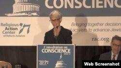 سخنرانی وندی شرمن در نشست مرکز اقدام مذهبی یهودیت برای اصلاحات