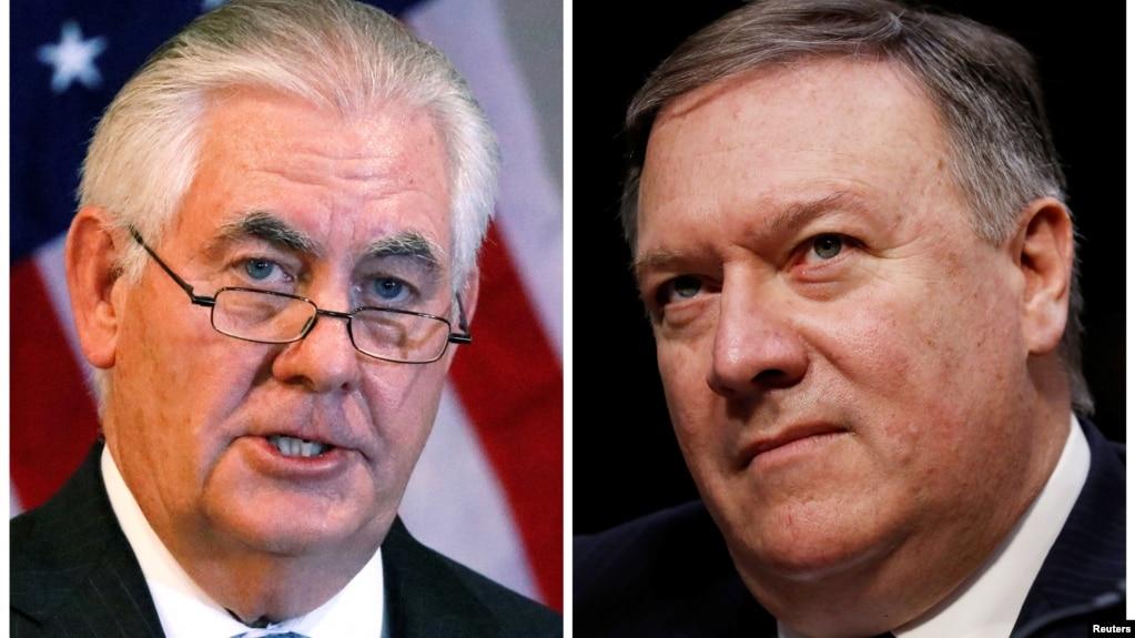 美国国务卿蒂勒森(左)和被提名接替蒂勒森国务卿职务的中情局局长蓬佩奥