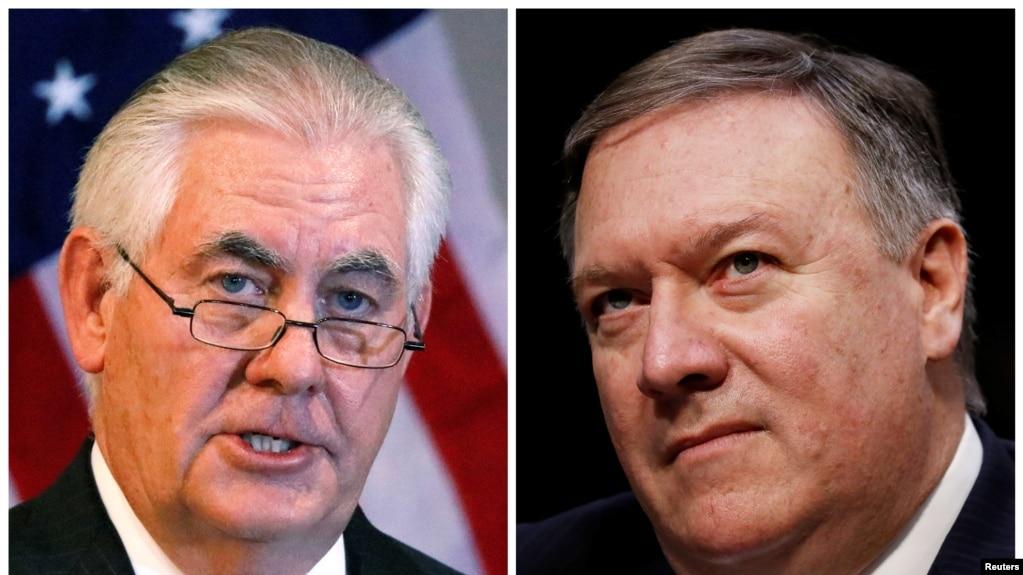美國國務卿蒂勒森(左)和被提名接替蒂勒森國務卿職務的中情局局長蓬佩奧