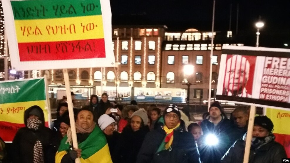 Ethiopians Demonstrate against government abuse of human rights - Goteborg , Sweden
