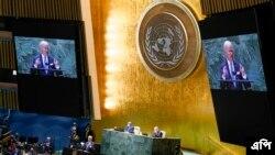 Presiden AS Joe Biden sat menyampaikan sambutan pada Sidang ke-76 Majelis Umum PBB, Selasa, 21 September 2021. (AP Photo/Evan Vucci)