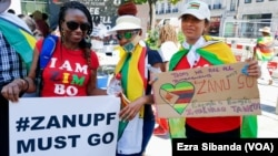 Zimbabweans Protest Against Corruption Outside Zimbabwe Embassy in London