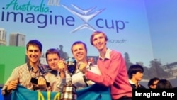 Team quadSquad from Ukraine celebrates getting first place at Imagine Cup 2012 in Australia.