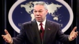 FILE - In this May 21, 2001, file photo, Secretary of State Colin Powell talks with reporters during a news conference at the Department of State in Washington. Powell, former Joint Chiefs chairman and secretary of state, has died from COVID-19 complicati