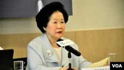 香港前政務司司長陳方安生表示,特首林鄭月娥應該盡快成立一個由具公信力的法官主持的獨立調查委員會,還各方一個公道。(美國之音 湯惠芸拍攝)