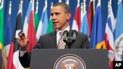 奧巴馬星期一在智利首都圣地亞哥發表講話