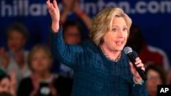 美国民主党总统参选人希拉里·克林顿在艾奥华州发表竞选演说(2016年1月5日)