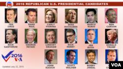 至目前為止已有將近二十位竟選美國總統的共和黨參選人。