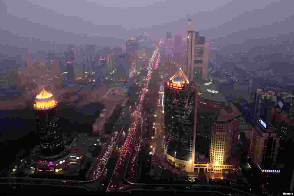 Buildings in Beijing are pictured on a day with heavy haze and smog, October 28, 2011.