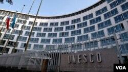 Kantor pusat UNESCO di Paris, tempat berlangsungnya pemungutan suara mengenai keanggotaan Palestina, Senin ((31/10).
