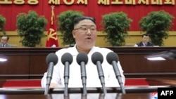 Líder norcoreano Kim Jong Un durante un evento el 9 de abril, 2021.