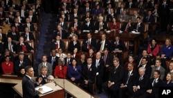 정부 예산안과 관련해 국회에서 연설하는 바락 오바마 미국 대통령(자료사진)