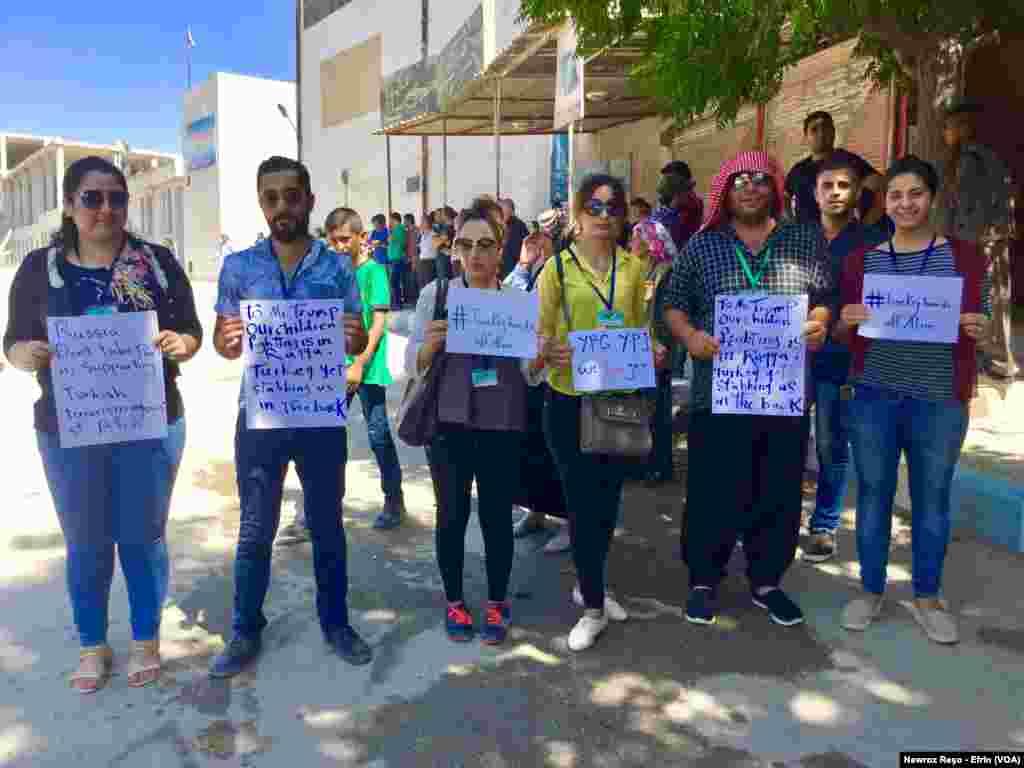 Xwepêşandana Gelê Efrînê li Dij Bombebarana Berdewam ya Artêşa Tirkiyê Û Grûbên Çekdar