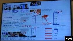台灣學者沈伯洋2019年10月23日在華盛頓全球檯灣研究中心展示中國對台選舉滲透圖片(美國之音鍾辰芳拍攝)