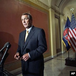 House Speaker John Boehner of Ohio speaks during a news conference on Capitol Hill, Apr 1 2011, to discuss GOP efforts to create jobs and cut spending