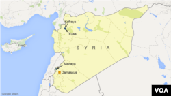 Map shows location of Fuaa, Kafraya, and Madaya, Syria