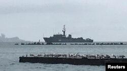 Arxiv fotosu – Rusiyanın hərbi dəniz donanmasının vitse-admiral Zaxarin gəmisi Krımda Kerç boğazında, 28 noyabr, 2018.