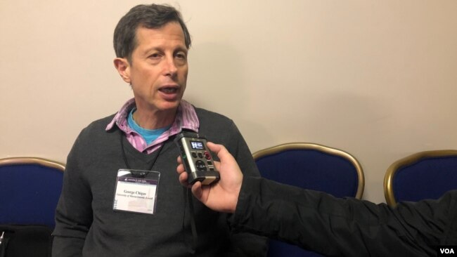 Professor George Chigas of Cultural Studies at the University of Massachusetts Lowell spoke to VOA Khmer at the Annual Conference for Asia Studies from March 22-25, 2018, Washington, D.C. (Photo: Sok Khemara/VOA Khmer)