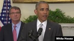 Presiden AS Barack Obama memberikan pidato di Gedung Putih, Rabu (6/7).