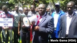 FILE: MDC-T leader Morgan Tsvangirai addresses a crowd in Harare.