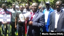 MDC-T leader Morgan Tsvangirai addresses a crowd in Harare.