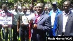 MDC-T leader Morgan Tsvangirai addresses a crowd in Harare.