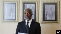 UN-Arab League envoy Kofi Annan reads a statement after his meeting with Syria's President Bashar al-Assad in Damascus, March 11, 2012.
