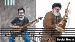 طرحی که لوک ورنیمن، کارتونیست بلژیکی برای مهدی رجبیان کشیده است-منبع: United Sketches