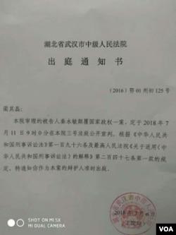 秦永敏案公开宣判通知书 (网络照片)