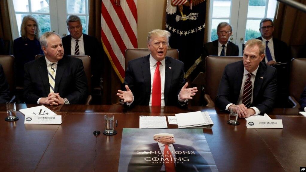 特朗普总统2019年1月2日在白宫举行内阁会议,代理国防部长沙纳汉坐在特朗普左边。