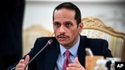 قطر کے وزیر خارجہ شیخ محمد بن عبد الرحمٰن الثانی۔ 11 اکتوبر 2021ء۔ فائل فوٹو
