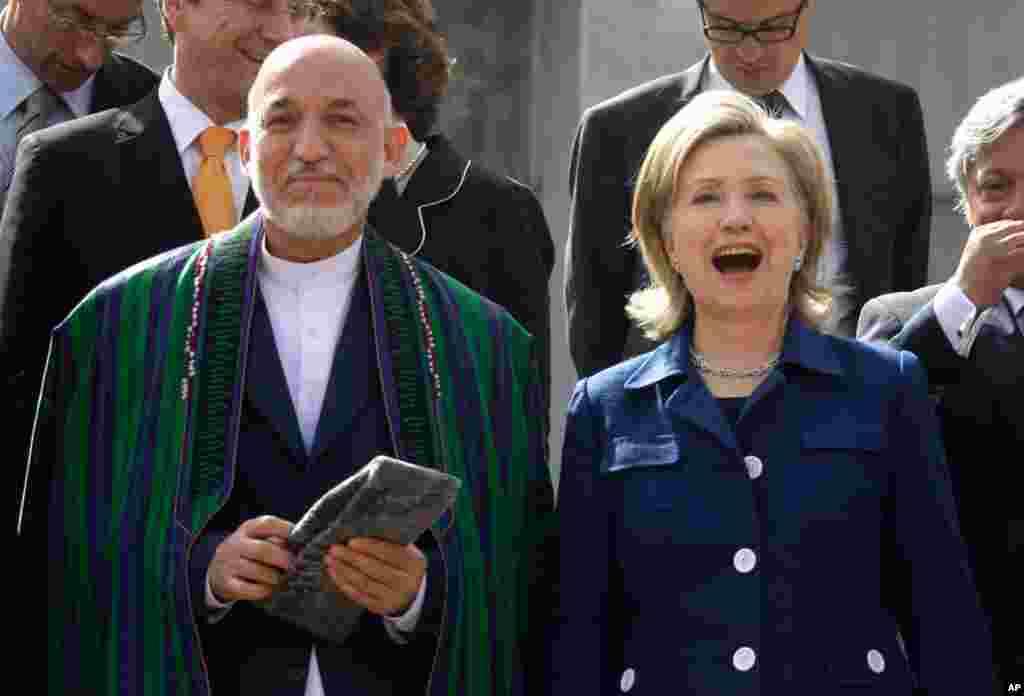 Хиллари Клинтон и Хамид Карзай в Кабуле. 20 июля, 2010 г.