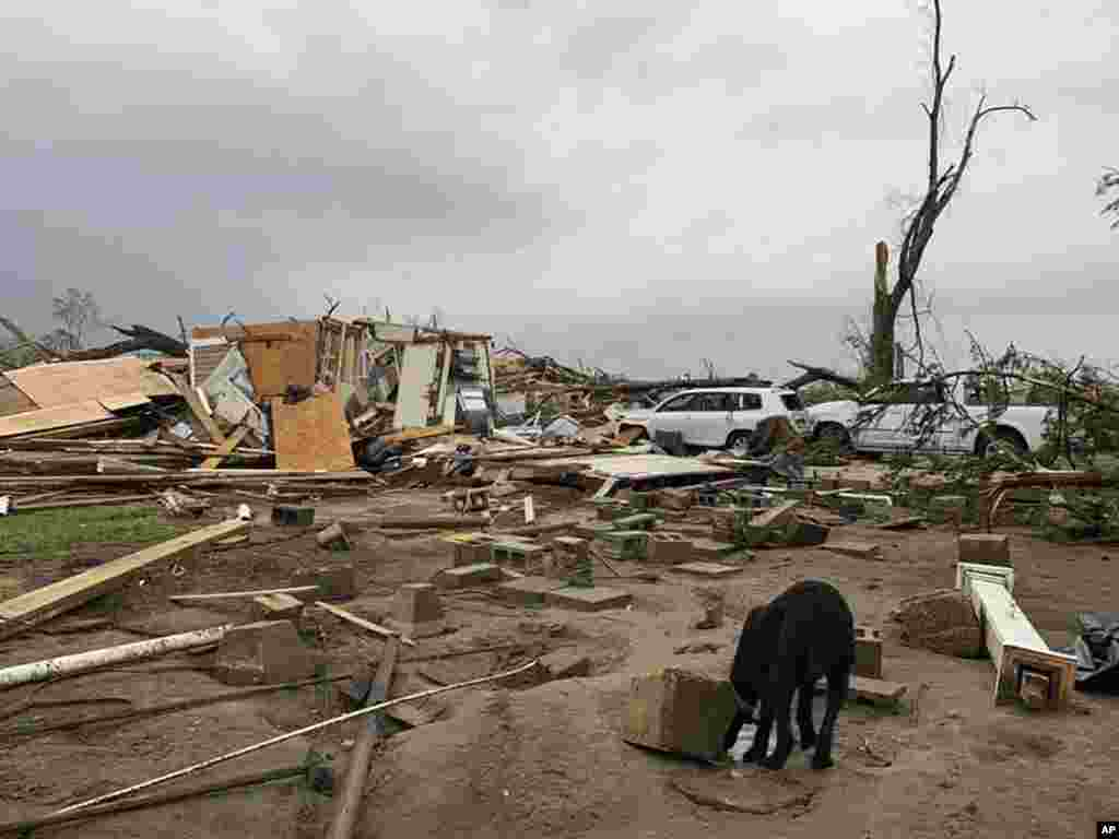 Destroyed homes are seen following a tornado in Moss, Mississippi. Severe weather hit many areas of the southern United States, killing at least 18 people and damaging hundreds of homes from Louisiana into the Appalachian Mountains.