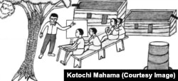 Teacher and students holding class under a tree - Illustration by Kotochi Mahama for Safaliba Literacy Texts