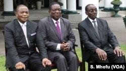 UMnu. Emmerson Mnangagwa labasekeli bakhe, uMnu. Kembo Mohadi loRetired General Constantino Chiwenga.